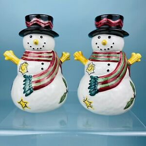 2 Sango Sue Zipkin Snowman Snowmen The Sweet Shoppe Christmas Candle Holders