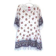 A'GACI Shift Dress Womens Medium White Floral Print V Neck 3/4 Sleeve