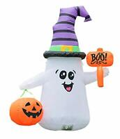 Inflatable Led Light Pumpkin Halloween Ghost Air Yard Outdoor Blow White Color