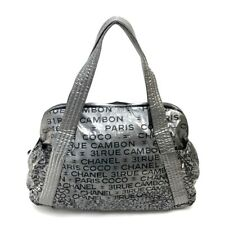 CHANEL Unlimited Mini Boston Shoulder Bag Tote Bag Silver Nylon