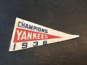 Vintage 1936 Mini Felt Pennant New York Yankees Champions Baseball Team Gehrig