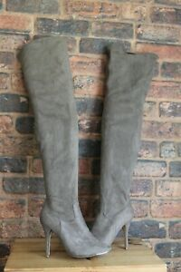 TAUPE STRETCHY FABRIC THIGH HIGH BOOTS SIZE 8 / 42 BY FIORE USED CONDITION