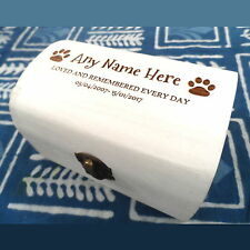 Rustic White Memorial Wooden Pet Urn Cremation Ashes Cat Dog Ash Box Engraved