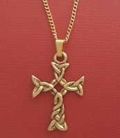 Gold Plated Celtic Cross Necklace charm pendant and chain