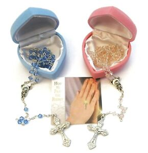 Baby's FIRST ROSARY with Glass Beads choice of Blue/Pink Children's Christening