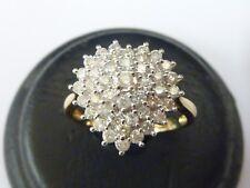Ladies Stunning 18ct Gold 1ct Diamond Set Heart Cluster Ring - Size P