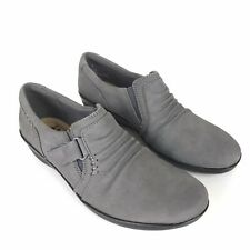 Clarks 7 Narrow Gray Ruched Leather Slip On w Adjustable Strap Everlay Coda