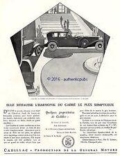 PUBLICITE AUTOMOBILE CADILLAC HOTEL AVENUE FOCH SIGNE BENIGNI DE 1929 FRENCH AD