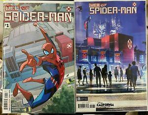 WEB OF SPIDER-MAN 1 A B VARIANT COVER SET 1ST PRINT APP HARLEY KEENER BRIGADE NM