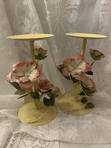 VINTAGE SHABBY COTTAGE CHIC METAL TOLEWARE PINK FLORAL CANDLESTICK PILLAR CANDLE