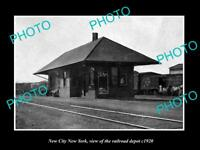 OLD LARGE HISTORIC PHOTO OF NEW CITY NEW YORK, THE RAILROAD DEPOT STATION c1920