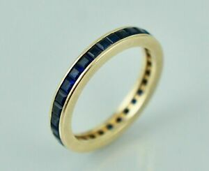 2Ct 14K Blue Sapphire Eternity Band Ring Vintage Yellow Gold Finish Princess Cut