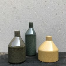 Rustic Stoneware Bottle Vases Perfect for Dried Flowers - Yellow Grey Or Green