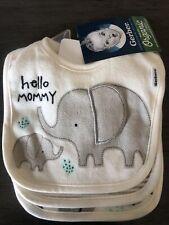 New Gerber Baby Boy Or Girl Unisex 3-Pack Safari Elephant Organic Cotton Bibs