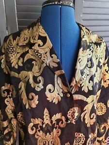 Vintage 1980s Black Gold Metallic Shirt, Size Medium