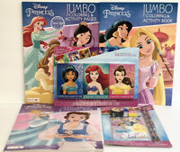 5 Pc Disney Princess Coloring & Activity Books 3pk Crayons + Activity Fun Set