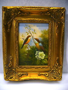 Vintage Art Painting Two Birds on Branch With Gold Painted Ornate Wooden Frame