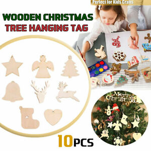 10x Christmas Wooden Shapes Craft Tags Wooden Embellishments for DIY Wood Arts