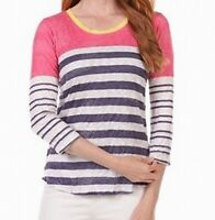 David Cline Womens Tops Pink Size Large L Knit Scoop Neck Striped $78 508