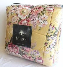 Ralph Lauren Brooke Yellow floral QUEEN / FULL comforter Sham Set reversible New