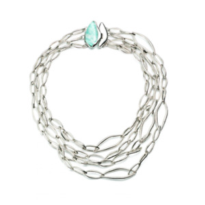 Alexis Bittar Rhodium Layered Infinity Necklace with Amazonite Closure - NWT