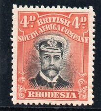 """Rhodesia 1913 """"Admiral"""" 4d black & deep orange-red MLH. SG 225."""