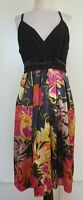 CITY CHIC Black Knit Bodice Navy/Pinks/Gold Satin Floral Skirt Dress Size M