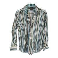 Thomas Dean Mens Shirt Long Sleeve Button Down Striped Flip Cuffs Size M Medium