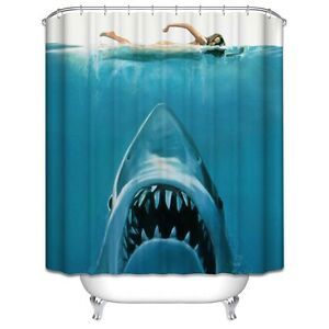 Jaws Shower Curtain Shark Underwater Ocean Nautical Summer Beach Sea Blue 70x70