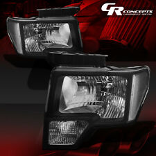 PAIR BLACK HOUSING CLEAR CORNER HEADLIGHT/LAMPS LH+RH FOR 09-14 FORD F150/LOBO