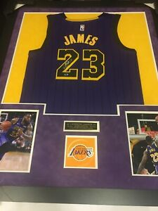 LEBRON JAMES AUTOGRAPED LOS ANGELES LAKERS FRAMED JERSEY. WITH COA / HOLOGRAM