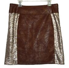 Miss Me Copper Brown Faux Leather Sequin Mini Skirt Medium M NWT