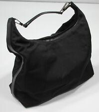 """* GUCCI * Black Nylon 17 x 11"""" Medium Sized Italy Tote Handbag"""