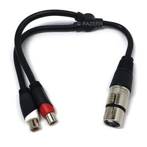 NEW XLR Female 3-Pin Connector to 2-RCA Jacks Stereo Microphone Adapter 1' Cable