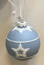 Wedgwood Jasperware Christmas Round Ball Blue Shining Star Ornament In Box.