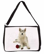 Utonagan Dog with Red Rose Large Black Laptop Shoulder Bag School/Col, AD-H53RSB