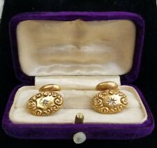 Antique Art Nouveau 14k Yellow Gold Diamond Cufflinks Original Velvet Box Mens