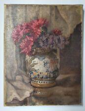 Huile sur toile Bouquet et porcelaine chinoise 35x27