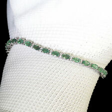 Natural Colombian Emerald Tennis Bracelet Magnificent Green Gemstones 925 Silver