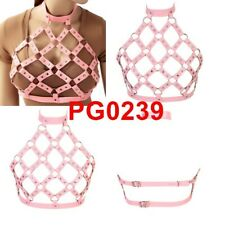 pink bra Body Harness Punk Goth Strappy Cage top Adjustable strap riveted attire
