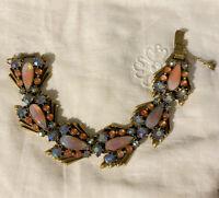 Vtg Florenza Rhinestone Glass Bracelet