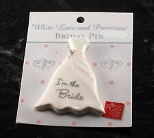 I'M THE BRIDE PIN BY RUSS WHITE LACE & PROMISES BRIDAL PIN NEW ON CARD #31664