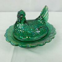 Vintage Glass Hen Chicken on Nest Basket Covered Dish Carnival Teal Iridescent