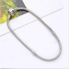 New Fashion Silver Snake Chain Bracelet Fit European Charm Beads 18cm