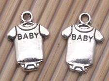 200 PCS Tibetan silver Craft T-Shirt SHIRT BABY Letter Jewelry Charms Pendants