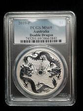 2019 Australia 1 oz .999 Fine Silver Double Dragon PCGS MS69