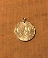 Modern Buffalo Bison Nickel Coin Jewelry Pendant Charm-Vintage Antique-Reverse!