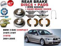 Pour BMW 3 E46 Compact 316 318 Frein Arrière Disques Set + Patins Kit + Capteur+
