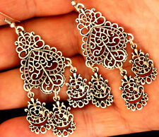 SUPERB Zamak Silver Cluster Authantic Turkish Made Filigree Antiqued Earrings