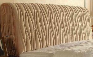 Velvet Double Bed Headboard Cover (180cm x 62cm Thickness 10-30cm) Beige